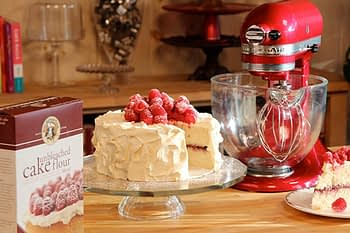 White Celebration Cake-Raspberries